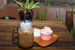 Iced coffee with blueberry cheese cake Stock Image