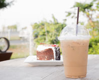 Iced coffee with blueberry cheese cake Stock Images