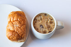 Iced coffee and breads Stock Photos