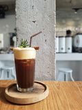 Iced coffee in the cafe. Chill in the cafe with favorite iced coffee drink stock images