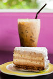 Iced coffee and cake Royalty Free Stock Images