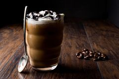 Iced Coffee Chocolate Frappe / Frappuccino with Whipped Cream, Chocolate Syrup. royalty free stock image