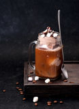 Iced coffee with chocolate ice cream. And marshmallow royalty free stock photo