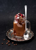 Iced coffee with chocolate ice cream and raspberries Royalty Free Stock Photography
