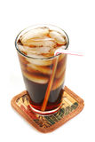 Iced coffee on a coaster Royalty Free Stock Images