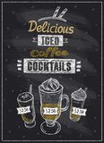 Iced coffee cocktails chalkboard menu Royalty Free Stock Photo