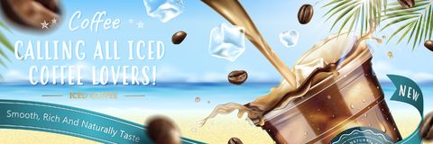 Iced coffee commercial. Iced coffee pouring down into a takeaway cup with flying coffee beans on blurry resort background in 3d illustration Royalty Free Stock Photos