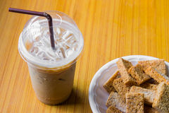 Iced coffee and crackers. On the table Stock Images