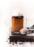 Iced coffee with cream and chocolate ice cream Royalty Free Stock Photos