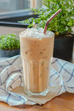 Iced Coffee with Dark brown straw Royalty Free Stock Photos
