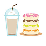 Iced Coffee and Donuts vector illustration