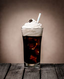 Iced coffee float with creamy vanilla ice cream Stock Image