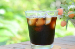 Iced coffee in garden Royalty Free Stock Image