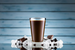 Iced coffee in glass and crushed ice Stock Image
