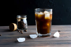 Iced coffee in glass Royalty Free Stock Images