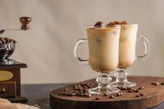 Iced coffee in glass jars Stock Photo