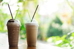 Iced coffee glass on table. Concept Couple of love. Drink in menu at coffee cafe stock photo