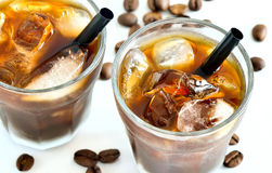 Iced coffee in glasses royalty free stock images