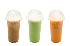 Iced coffee,Green tea milk,Milk tea Stock Image