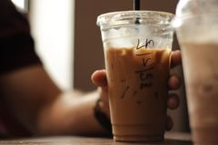 """Iced Coffee. From a local coffee shop called """"Viridian."""" Delicious royalty free stock photos"""