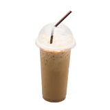 Iced coffee isolated. Straw on white background Royalty Free Stock Photo