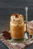 Iced coffee in a jar Royalty Free Stock Image
