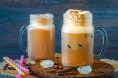 Iced coffee in a jar Stock Photography