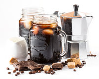 Iced coffee in a large mug Royalty Free Stock Images