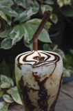 Iced coffee. Latte Art Cool on the table wooden Royalty Free Stock Photos