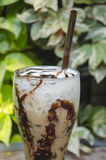 Iced coffee. Latte Art Cool on the table wooden Royalty Free Stock Photography