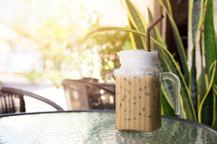 Iced Coffee Latte drink in summer time. stock image