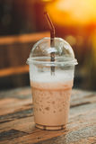 Iced Coffee Latte with Ice in plastic Clear Cup stock photography
