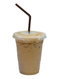Iced coffee latte in plastic cup isolated on white background, c. Lipping path royalty free stock images