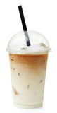 Iced coffee latte. In plastic glass isolated on white background royalty free stock photography