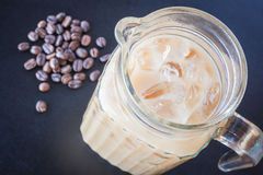Iced coffee latte and roast bean Stock Images
