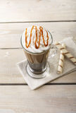 Iced coffee with milk and ice cream Royalty Free Stock Photo