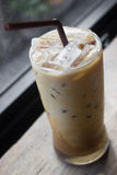 Iced coffee. Iced coffee with milk is on the table royalty free stock image