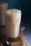 Iced coffee with milk in tall glasses Royalty Free Stock Image