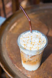 Iced coffee mocha with caramel. Beverage Royalty Free Stock Photography