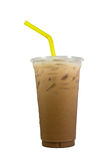 Iced coffee in plastic cup Stock Image