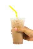 Iced coffee in plastic cup Royalty Free Stock Images