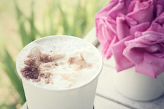 Iced coffee with rose Royalty Free Stock Image