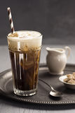 Iced Coffee with Swirls of Cream on Tray Stock Photography