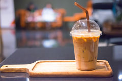 Iced coffee on table Stock Images