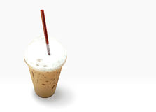 Iced coffee in takeaway. Cup isolated on white background Stock Photo