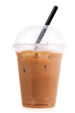 Iced coffee in takeaway plastic cup on white background Royalty Free Stock Image
