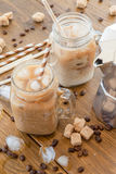 Iced coffee in vintage jar Royalty Free Stock Image