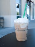 Iced coffee with whipped cream Stock Photo
