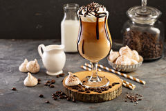Iced coffee with whipped cream royalty free stock photos