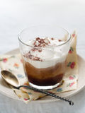 Iced coffee. With whipped cream, selective focus stock images